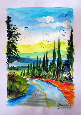 Painting - Tuscan Cypresses  by Roberto Gagliardi