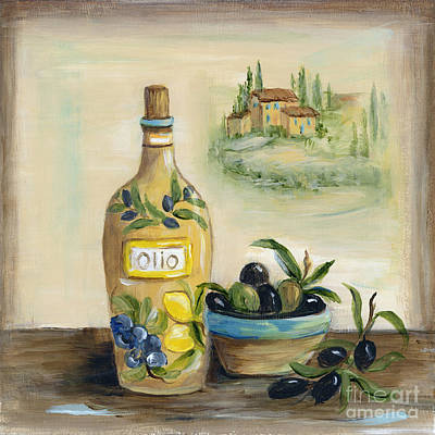 Ceramics Painting - Tuscan Olive Oil With View by Marilyn Dunlap