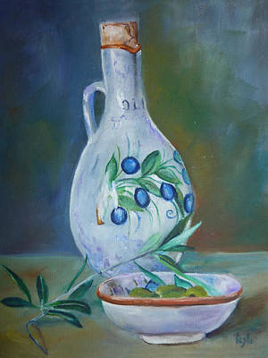 Tuscan Elements - Olive Oil With Olives Art Print by Virgilla Lammons
