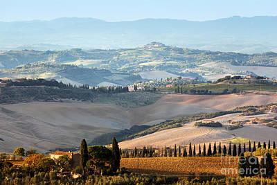 Tuscan Farm House, Vineyard At Sunrise Print by Michal Bednarek