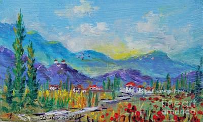 Painting - Tuscan Farm Miniature by Lou Ann Bagnall