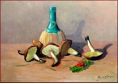A Summer Evening Landscape Painting - Tuscan Food Composition by Fabio Biondi