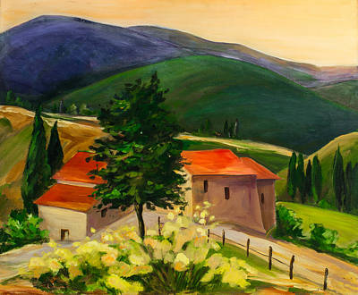 Landmarks Painting Royalty Free Images - Tuscan hills Royalty-Free Image by Elise Palmigiani