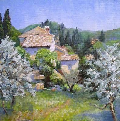 Tuscan  Hilltop Village Art Print