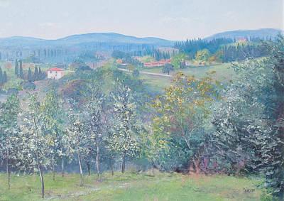 Tuscan Hills Painting - Tuscan Landscape by Jan Matson