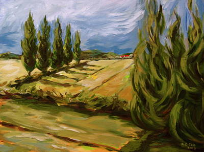 Cypress Tree Drawing - Tuscan Landscape by Outre Art  Natalie Eisen