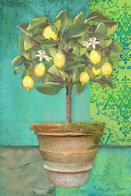Botanicals Mixed Media - Tuscan Lemon Topiary - Damask Pattern 1 by Audrey Jeanne Roberts