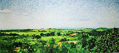 Wine Art Drawing - Tuscan Long View by Jason Charles Allen
