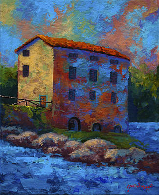 River Painting - Tuscan Mill by Marion Rose