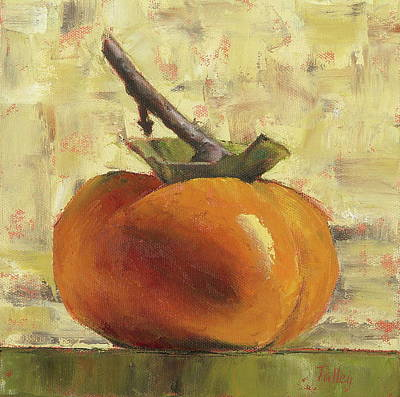 Still-life Painting - Tuscan Persimmon by Pam Talley