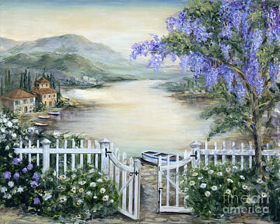 Tuscan Pond And Wisteria Art Print