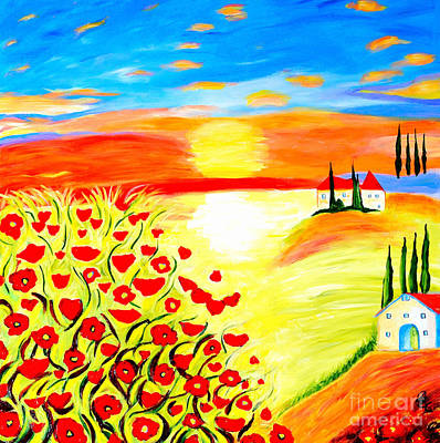 Tuscan Sunset Painting - Tuscan Poppies by Art by Danielle