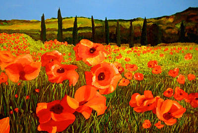Painting - Tuscan Poppies by JoeRay Kelley