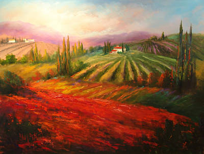 Tuscan Poppies Art Print by Sally Seago
