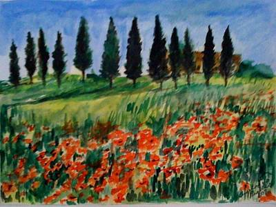Tuscan Poppies With Poplar Trees Art Print by Angela Puglisi