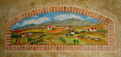 Painting - Tuscan Scene Brick Window by Anita Burgermeister