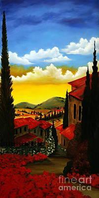 Tuscan Sunset Painting - Tuscan Sidewalk by Jeff Maurer