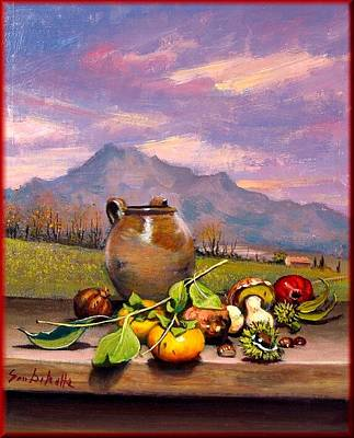 Tuscan Sunset Painting - Tuscan Still Life by Dibatte