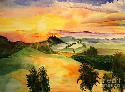 Tuscan Sunset Painting - Tuscan Sun by Tina Sheppard