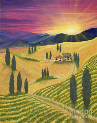 Tuscan Hills Painting - Tuscan Sunset B by Cindy Lee Longhini