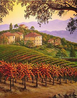 Tuscan Sunset Painting - Tuscan Sunset by Patrick ORourke