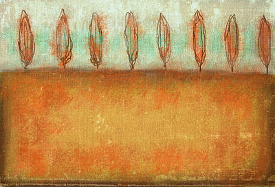Tuscan Trees In Sienna Art Print by Suzanne Powers