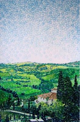 Wine Art Drawing - Tuscan View by Jason Charles Allen