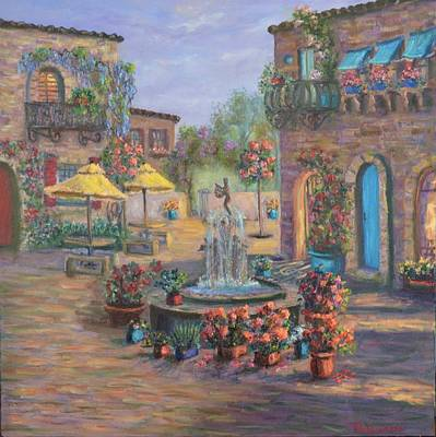 Painting - Beautiful Tuscan Villa Flower Garden Fountain Painting by Amber Palomares