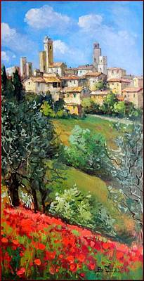 Tuscan Sunset Painting - Tuscan Village by Bruno Chirici