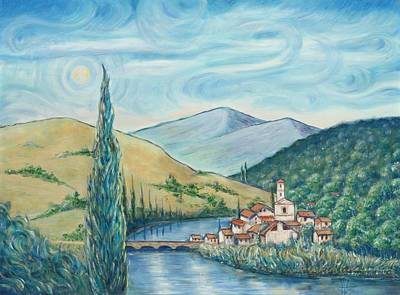 Tuscan Hills Painting - A Bridge Across The Tuscan Hills by Mike Martinez