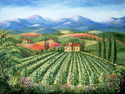 Poppies Fine Art Painting - Tuscan Vineyard And Abbey by Marilyn Dunlap