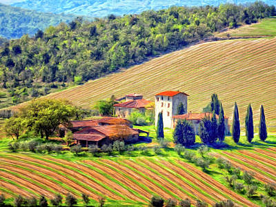 Tuscan Hills Painting - Tuscan Vineyard by Dominic Piperata