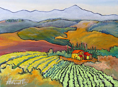 Winery Painting - Tuscan Vineyard by Mohamed Hirji