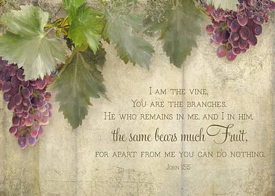 Grape Leaf Painting - Tuscan Vineyard - Rustic Wood Fence Scripture by Audrey Jeanne Roberts