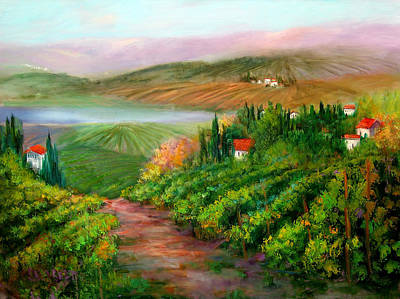 Pastoral Vineyard Painting - Tuscan Vista by Sally Seago