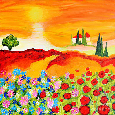 Tuscan Sunset Painting - Tuscan Wildflowers by Art by Danielle