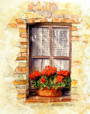 Plant In Pot Painting - Tuscan Window by Bonnie Rinier