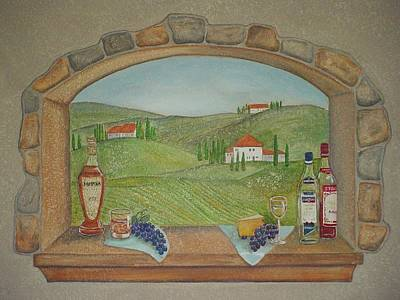 Painting - Tuscan Window View by Anita Burgermeister