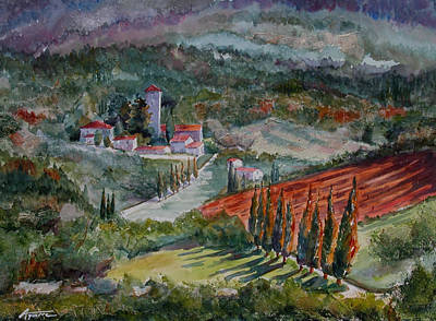 Italian Wine Painting - Tuscano Wine Country by Betsy Aguirre