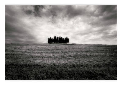 Tuscan Digital Art - Tuscany - Italy - Black And White by Marco Hietberg