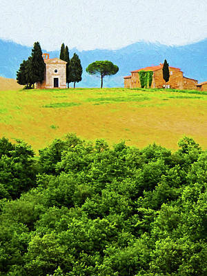 Digital Art - Tuscany Chapel And Farmhouse by Dennis Cox WorldViews