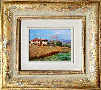 A Summer Evening Landscape Painting - Tuscany Country With Frame by Vaccaro