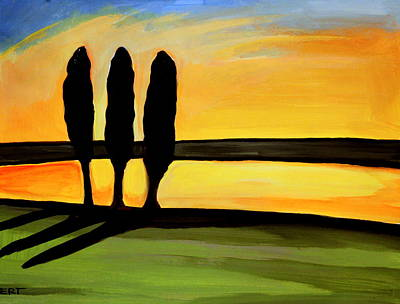 Tuscan Sunset Painting - Tuscany Cypress by Elizabeth Robinette Tyndall