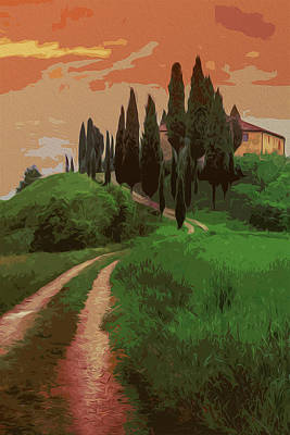 Pastoral Vineyard Painting - Tuscany, Fairy Landscape by Andrea Mazzocchetti