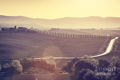 Tuscany Fields And Valleys Autumn Landscape, Italy. Sunset, Vintage Light Art Print