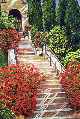 Painting -  Tuscany Garden Staircase by David Lloyd Glover