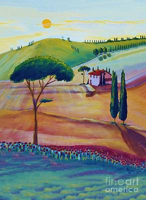 Sun Rays Painting - Tuscany Is Beautiful by Christine Huwer