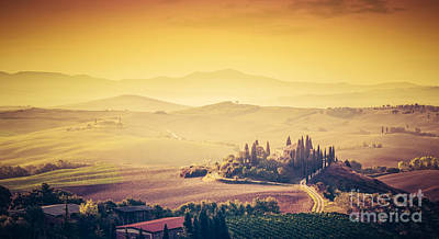 Vineyard Photograph - Tuscany, Italy Landscape. Super High Quality Panorama Taken At Wonderful Sunrise by Michal Bednarek