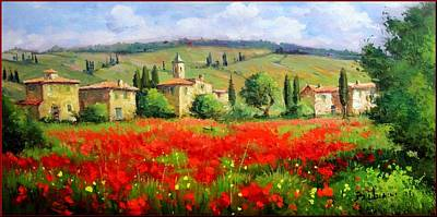 A Summer Evening Landscape Painting - Tuscany Landscape by Bruno Chirici