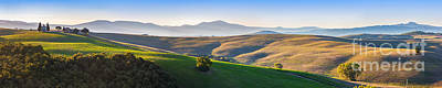 Tuscany Landscape Panorama At Sunrise With A Chapel Of Madonna D Art Print by Michal Bednarek